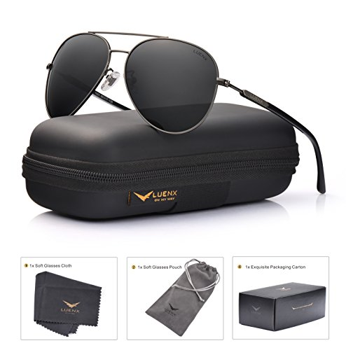 Men Women Sunglasses Aviator Polarized Driving by LUENX - UV 400 Protection Grey Lens Gun Metal Frame - Male Frame