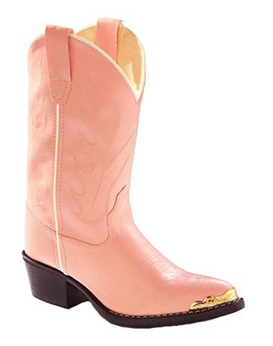 Old West Girls' Cowgirl Boot Pink 1 D(M) US (Boot Girls Cowboy Pink)
