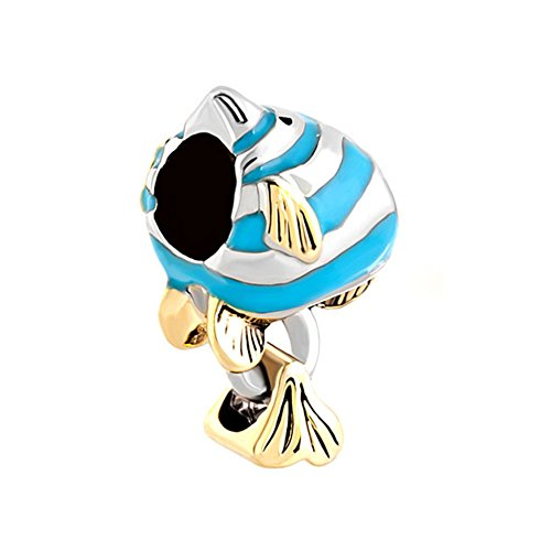 Angel Fish Bracelet - QueenCharms Cute Blue Angel Fish Charm Beads For Bracelets