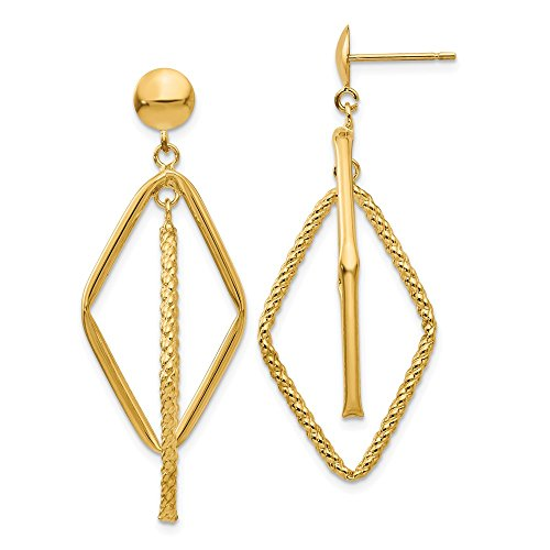 Beautiful Yellow gold 14K 14k Polished & Patterned Diamond Shaped Post Earrings