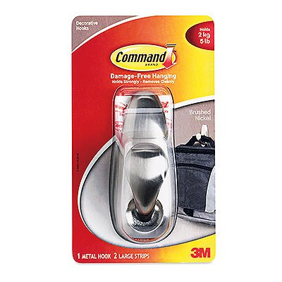 Command Strips FC13-BN Large Brushed Nickel CommandTM Classic Metal Hook (Scotch Command Adhesive Hook)