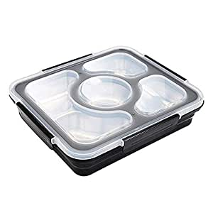 U HOME Large Bento Box with Removable Stainless Steel Tray - Adults Size Leakproof Bento Lunch Box with 4 Compartments (black)