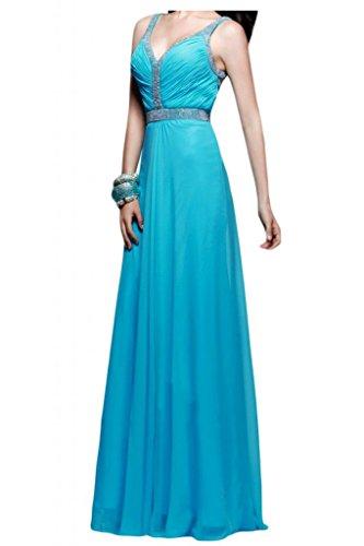 Toscana novia dibujos Rueckenfrei V-cuello gasa noche vestidos de bola vestidos de fiestas de fiesta largo Azul
