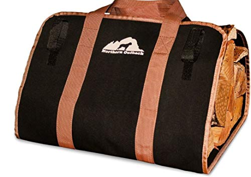 Northern Outback Firewood Log Carrier- Durable and Strong - Best for Fireplaces - Wood Stoves - Firewood - Logs - Camping - Beaches - Landscaping! (Stock Fireplace Door)