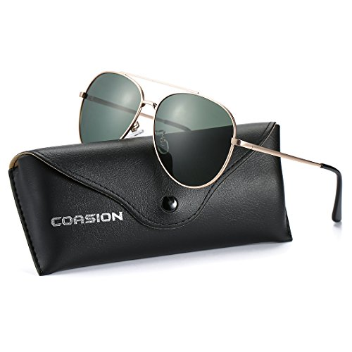COASION Classic Retro Polarized Aviator Sunglasses Small Shades for Men Women with Leather Case - Sunglasses Aviator Small Face For