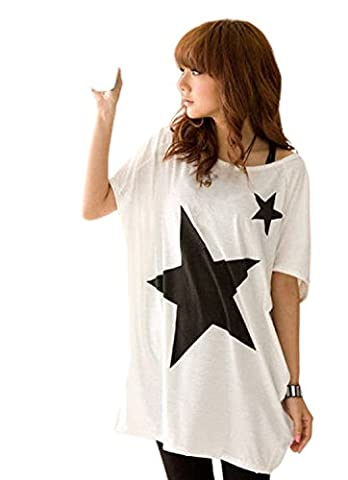 Lookatool Women Long Loose Batwing Dolman Sleeve T-Shirt Casual Star Blouse Tops (White) - Long Graphic