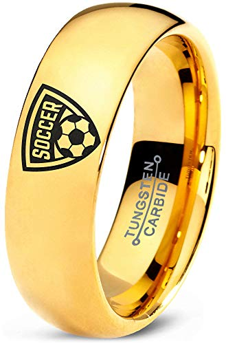 Zealot Jewelry Tungsten Futbol Soccer Player Crest Logo Band Ring 7mm Men Women Comfort Fit 18k Yellow Gold Dome Polished Size 4