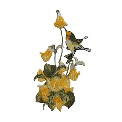 ID 6146 Humming Bird Flower Bush Patch Garden Nectar Embroidered IronOn Applique for Accessories - Bags/Purses, Apparel - Coat/Jacket, Apparel - Jeans/Pants, Children, Crafts by - Card Nectar Get
