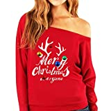 Christmas Winter Women's Casual Sweatshirt Pullover Strapless Sweatshirt Long Sleeve Solid Color Tops Blouse (2XL, Red)