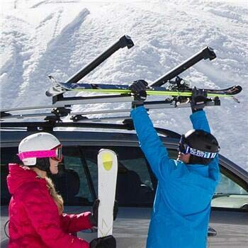 HTTMT 32 Rooftop SnowRack Plus Ski Rack for Cars Fits 6 Pairs Skis or Fits 4 Snowboard