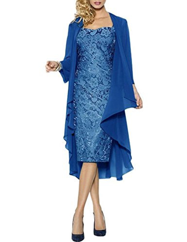 Neggcy Plus Size Knee Length Mother Of The Bride Dresses With Jacket Blue US22W