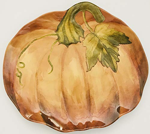 Looks Hand Painted | Orange Pumpkin Melamine Plate With A High Rim | Serving | Candy | Cookies | Decoration | 13 x 11.5 x 1 Inch -