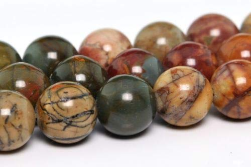 Jasper Pendant Beads Necklace (10mm Natural Picasso Jasper Gemstone Beads Grade Round Loose Beads 15'' Crafting Key Chain Bracelet Necklace Jewelry Accessories Pendants)