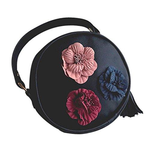 andbag Womens Ladies Fashion Handbag Shoulder 3 Balance Flowers Bag Small Mini Tote Purse (Black) ()