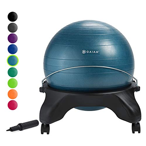 Gaiam Classic Backless Balance Ball Chair – Exercise Stability Yoga Ball Premium Ergonomic Chair for Home and Office Desk with Air Pump, Exercise Guide and Satisfaction Guarantee, Ocean