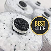 Cookies & Cream Floam Slime (scented) with Cute Cookie Charm - Slime with Foam Balls/Beads 4oz - Made in USA