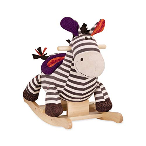 B toys – Kazoo Wooden Rocking Zebra – Rodeo Rocker – BPA Free Plush Ride On Zebra Rocking Horse for Toddlers and Babies 18m+ by B. toys by Battat (Image #3)