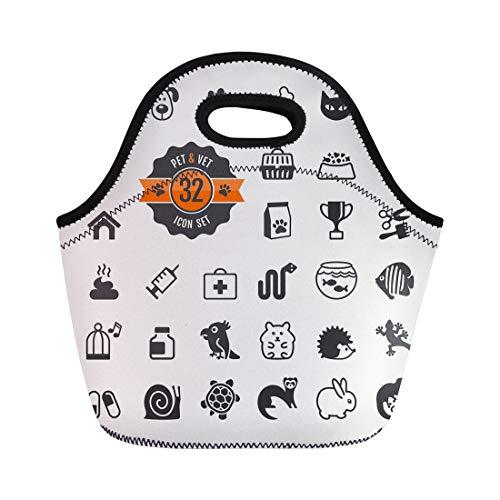 Semtomn Lunch Bags Paw Dog Pet Vet Types of Food Turtle Tortoise Neoprene Lunch Bag Lunchbox Tote Bag Portable Picnic Bag Cooler Bag
