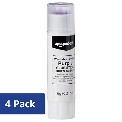 AmazonBasics Purple Washable School Glue Sticks, Dries Clear, 0.21 oz Stick, 4-Pack ()