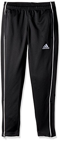 adidas Kids' Core18 Training Pant, Black/White, Large (Adidas Track Pants For Boys)