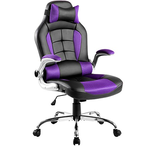 Merax King Series High-back Ergonomic Pu Leather Office Chair Racing Style Swivel Chair Computer Desk Lumbar Support Chair Napping Chair (Purple) by Merax