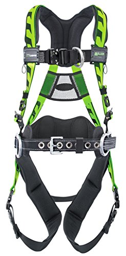 Miller AAF-QCBDPUG Large/X-Large DuraFlex AirCore Green Harness With Front, Back And Side D-Rings, Quick-Connect Chest Strap Buckle And Leg Strap Buckle, Lumbar Pad, Removable Belt And Aluminum Hardware (1/EA)