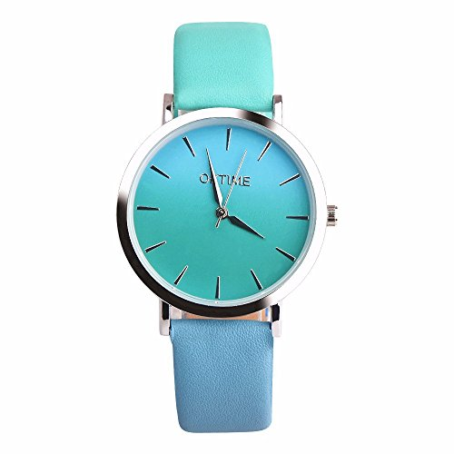 Women Fashion Retro Rainbow Design Wrist Watches,Outsta Leather Band Analog Alloy Quartz Watch (F)