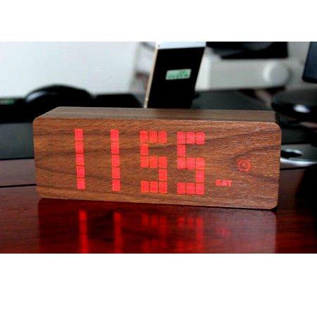 LILUO Moda Creativa Mudo Luminoso LED Despertador de Madera de Múltiples Funciones Reloj Digital hogar Calendario Relojes electrónicos, C: Amazon.es: Hogar