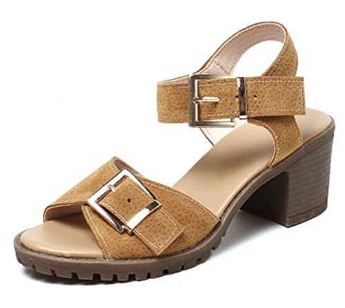 Sandals Ankle Mid Suede Womens Buckles Heel Fashion Easemax Brown Strap Faux Chunky Slingback Tf4Pnw