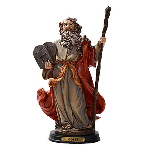 - ABZ Brand Messenger and Prophet Moses with The Ten Commandments Resin Figurine Statue with Wooden Base