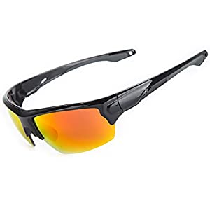 Shieldo Polarized Sports Sunglasses For Men And Women Running Cycling Fishing, Mirrored Integrated Polarized Lens Unbreakable Frame SDH001(Black-Red)