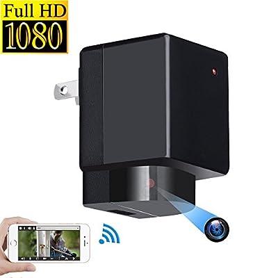 Vrnzau Hidden Camera 1080P Wifi HD Spy Plug Adapter PTZ 180° Lens Rotation Wireless Video Recorder Motion Detection Security Monitoring Nanny Cam