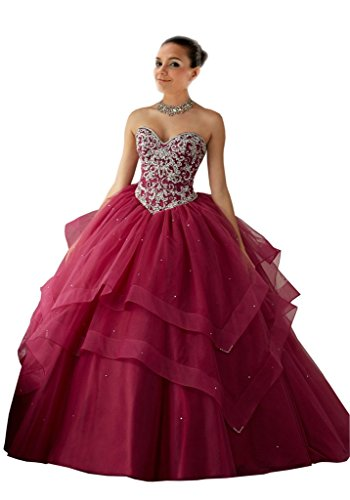 Mollybridal Sweetheart Ball Gown Quinceanera Prom Dress O...