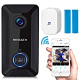 Video Doorbell WONGKUO Wireless Video Doorbell Camera 720P HD Security Smart WiFi Doorbells with Indoor Chime and 2 Rechargeable Batteries,Real-Time Video and Two-Way Talk,Night Vision