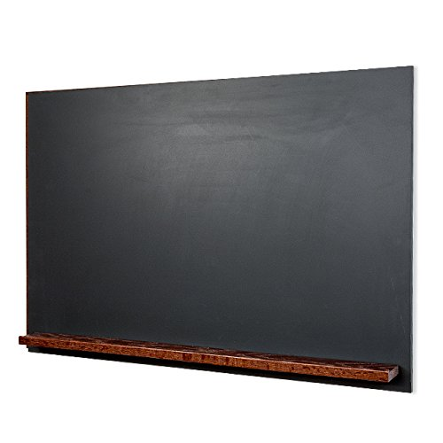The Original Landscape 30''h x 42''w Unframed magnetic porcelain Chalkboard with clean black edge and Dark Walnut Tray by New York Blackboard