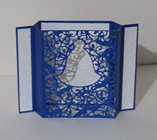 (Handmade 3D Prussian Blue & White Pearlescent Christmas Bell Shadow Box Greeting Card with Snowflake Embossed Background, Folds Down Flat for Posting )