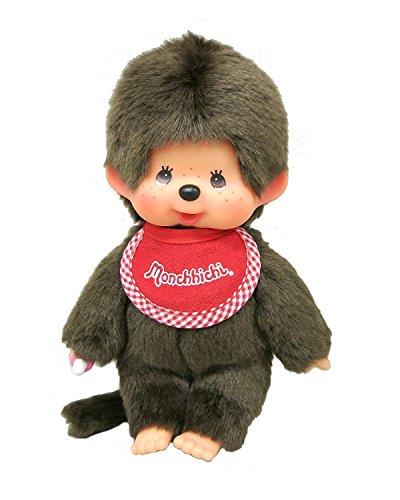 "Original Sekiguchi 8.45"" Tall Brown Boys Monchhichi Doll Standard with a Red Bib"