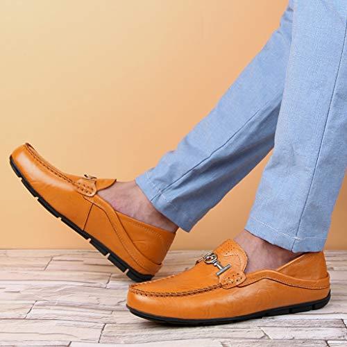 Confort Corte Barco Hechos Conducción Zapatillas Mano Zapatos Mocasines De Negocios A Pisos Cuero Hombre Para Azul Bajo CYSqw