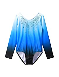 BAOHULU Gymnastics Leotard Girls Gradient Color Shiny Diamond Ballet Dance One Piece
