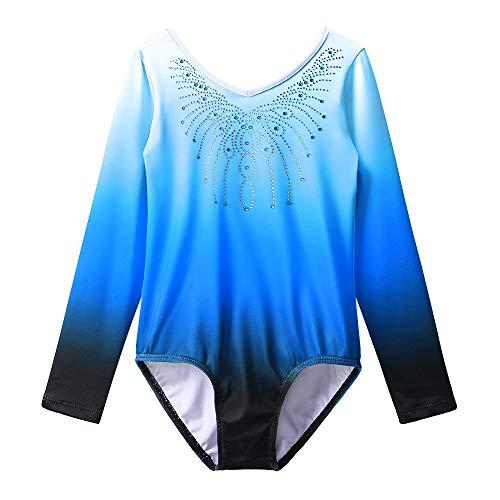 Gymnastics Leotard Girls Shiny Diamond Ballet Dance One Piece B152_Blue_14A