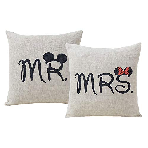 Set of 2 Jahosin Throw Pillow Covers 18 X 18 Inches ,Decorative Couple-Love Cushion Case (Mr and Mrs) -