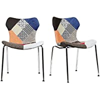 Set of 2 - Gramercy Mid Century Modern Dining Chairs (Patchwork)