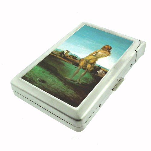 Salvador Dali Girl With Curls Double-Sided Cigarette Case with lighter, ID Holder, and Wallet - Salvador Cigarette Case Dali
