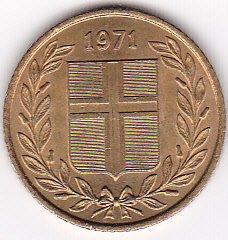 1971 Iceland 50 Aurar Coin