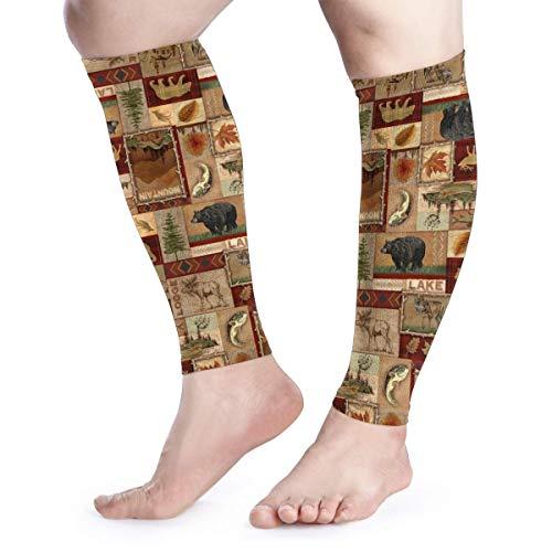 (BLongTai Rustic Lodge Bear Moose Deer Calf Compression Sleeve Men Womens Running Leg Sleeve for Shin Splint Muscle Pain Relief (1 Pair))