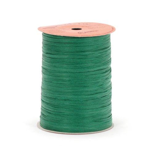 Berwick Offray Matte Emerald Green Raffia Ribbon, 1/4'' Wide, 100 Yards