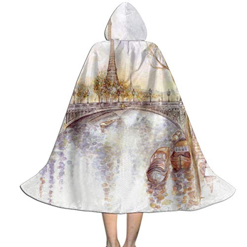 Halloween Costumes Paris Drawing Art Eiffel Hooded Witch Wizard Cloak for Kids S
