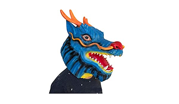 SonMo Máscaras Animales Halloween Decoración Mascara Latex Hombre Máscara Dragón Azul: Amazon.es: Juguetes y juegos