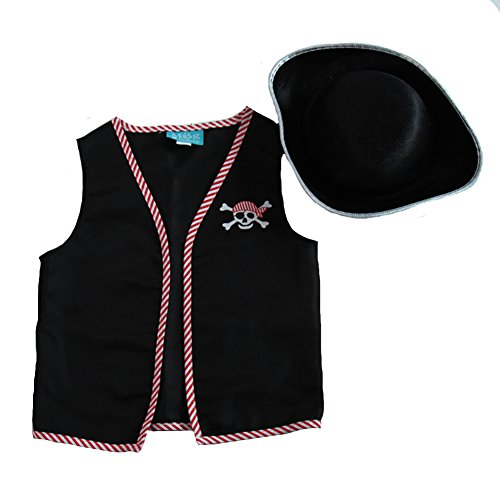 Kids Basic Pirate Accessory Dress Up Kit - Vest & Hat Size (Pirate Dress Up Kit)