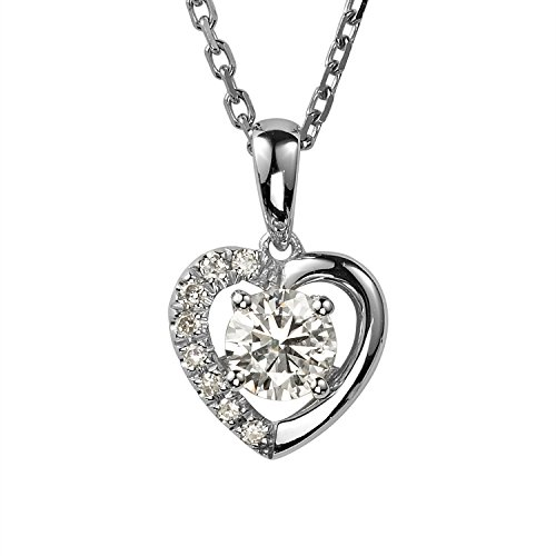(Forever Brilliant Round 5.0mm Moissanite Heart Pendant Necklace, 0.58cttw DEW by Charles & Colvard)